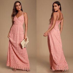 Lulu's Unending Love Blush Pink Lace Maxi Dress S